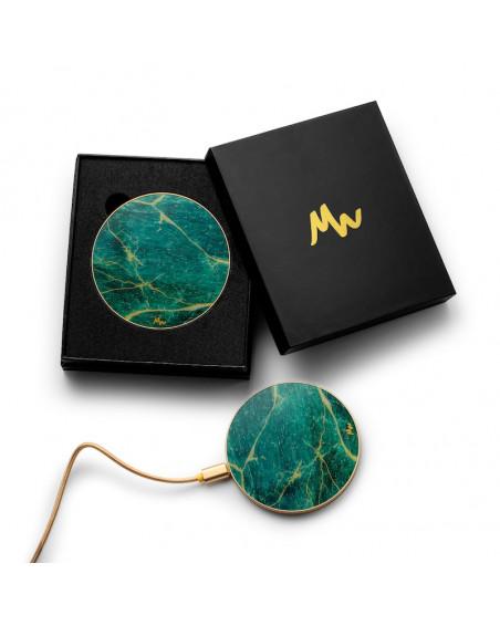 Chargeur sans fil Marbre Vert & Or de Marie Wolt