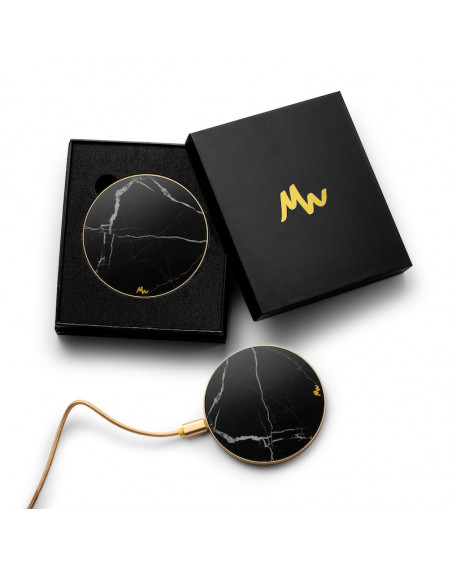 Chargeur sans fil Marbre Noir & Or de Marie Wolt