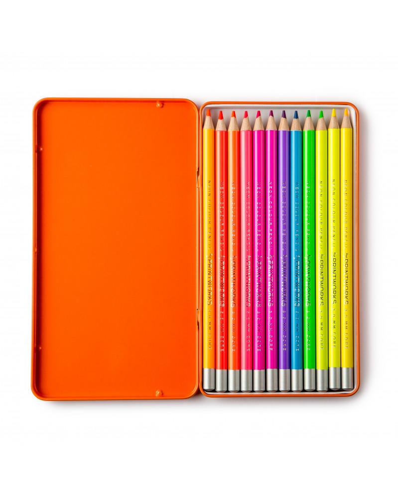 Boîte de 12 Crayons de Couleur - Néon